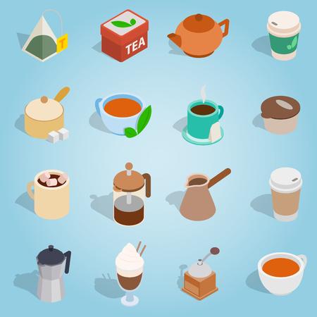 Isometric coffee and tea icons set. Universal coffee and tea icons to use for web and mobile UI, set of basic coffee and tea elements vector illustration Illustration