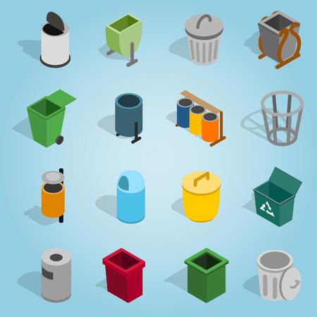 jammed: Isometric trash bin icons set. Universal trash bin icons to use for web and mobile UI, set of basic trash bin elements vector illustration