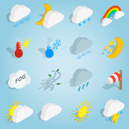 windy day: Isometric weather icons set. Universal weather icons to use for web and mobile UI, set of basic weather elements vector illustration