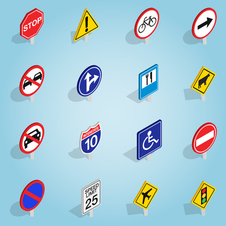 Isometric road sign icons set. Universal road sign icons to use for web and mobile UI, set of basic road sign elements vector illustration