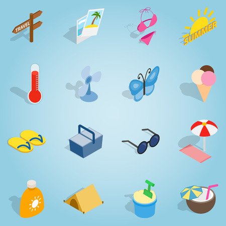 Isometric summer icons set. Universal summer icons to use for web and mobile UI, set of basic summer elements vector illustration Illustration