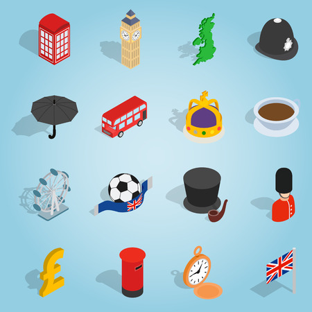 britain: Isometric britain icons set. Universal britain icons to use for web and mobile UI, set of basic britain elements vector illustration Illustration
