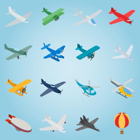 aeronautics: Isometric aviation icons set. Universal aviation icons to use for web and mobile UI, set of basic aviation elements vector illustration