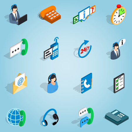 pictogram people: Isometric call center set icons. Universal call center icons to use for web and mobile UI, set of basic call center elements vector illustration Illustration