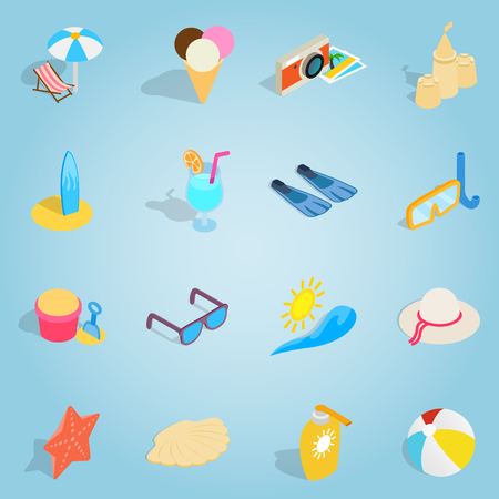 Isometric beach set icons. Universal beach icons to use for web and mobile UI, set of basic beach elements vector illustration Illustration