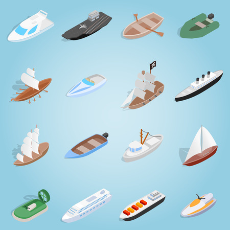 Isometric ship set icons. Universal ship icons to use for web and mobile UI, set of basic ship elements vector illustration