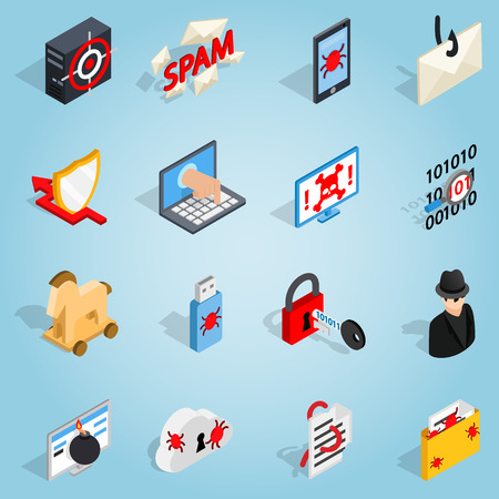 email bomb: Isometric 3d hacking set icons. Universal hacking icons to use for web and mobile UI, set of basic hacking elements vector illustration Illustration