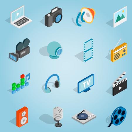 botton: Isometric media set icons. Universal media icons to use for web and mobile UI, set of basic media elements vector illustration Illustration