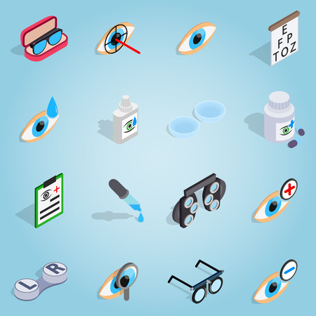 contact lens: Isometric optometry set icons. Universal optometry icons to use for web and mobile UI, set of basic optometry elements vector illustration Illustration