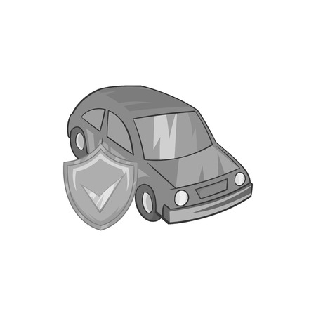 safely: Car insurance icon in black monochrome style on a white background vector illustration