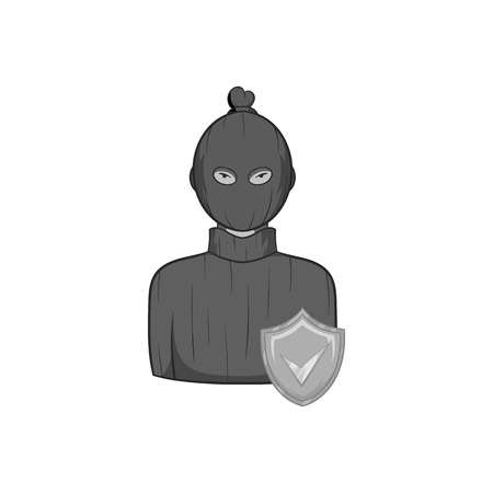 Robbery insurance icon in black monochrome style on a white background vector illustration Illustration