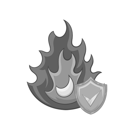 Fire insurance icon in black monochrome style on a white background vector illustration Illustration