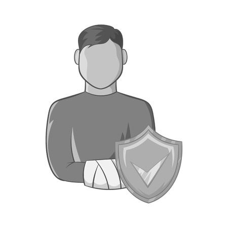 damaged: Man with broken arm and shield with tick icon in black monochrome style on a white background vector illustration