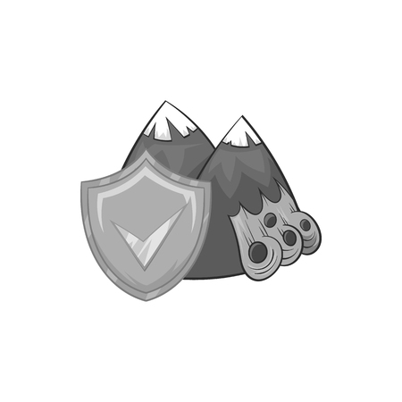 landslide: Landslide and yellow shield with tick icon in black monochrome style on a white background vector illustration