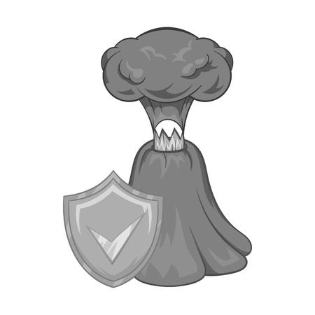 Volcano eruption insurance icon in black monochrome style on a white background vector illustration