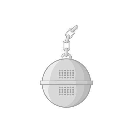 sifting: Steel strainer icon in black monochrome style on a white background vector illustration Illustration