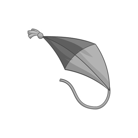 Flying kite icon in black monochrome style on a white background vector illustration