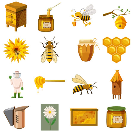 Apiary icons set in cartoon style. Honey and beekeeping set collection vector illustration