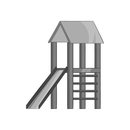 playtime: Playhouse with slide icon in black monochrome style on a white background vector illustration