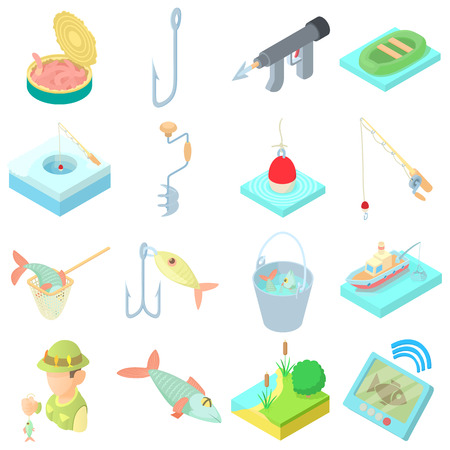fisher: Fishing icons set in cartoon style. Fisher equipment set collection vector illustration