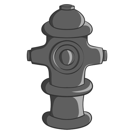 Fire hydrant icon in black monochrome style isolated on white background. Equipment symbol vector illustration Illustration