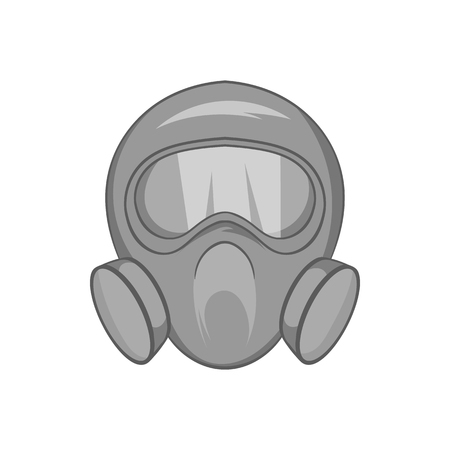 Gas mask icon in black monochrome style isolated on white background. Equipment symbol vector illustration Illustration