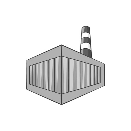 bottling: Beer bottling building icon in black monochrome style isolated on white background. Production of alcohol symbol vector illustration Illustration