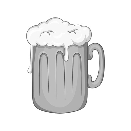bebidas alcoh�licas: Mug with beer icon in black monochrome style isolated on white background. Alcoholic beverages symbol vector illustration