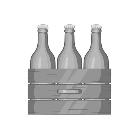 alcoholic beverage: Box of beer icon in black monochrome style isolated on white background. Alcoholic beverage symbol vector illustration Illustration