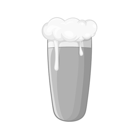 intoxication: Glass of beer icon in black monochrome style isolated on white background. Alcoholic beverages symbol vector illustration Illustration