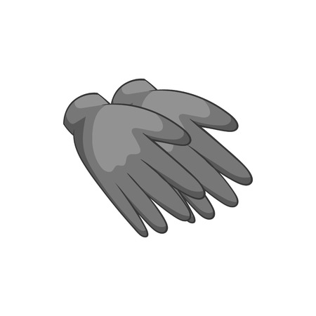 work gloves: Rubber gloves icon in black monochrome style isolated on white background. Hand protection symbol vector illustration Illustration