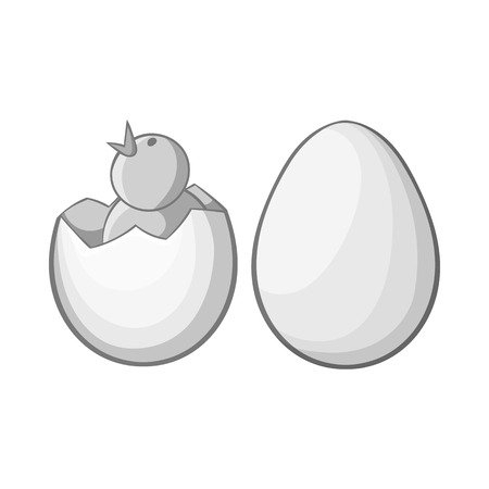 hatchling: Chick in egg icon in black monochrome style isolated on white background. Animals symbol vector illustration Illustration