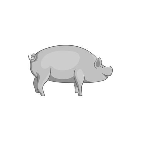 Pig icon in black monochrome style isolated on white background. Animals symbol vector illustration