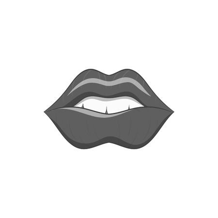nude black woman: Lips icon in black monochrome style isolated on white background. Kiss symbol vector illustration