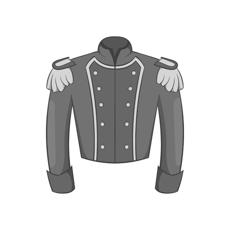 sergeant: Military jacket of guards icon in black monochrome style isolated on white background. Clothing symbol vector illustration