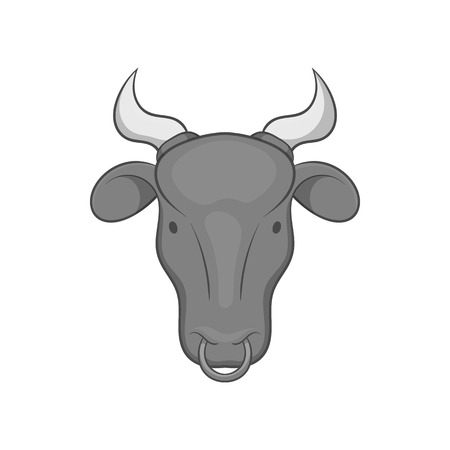 Cow icon in black monochrome style isolated on white background. Animals symbol vector illustration Illustration