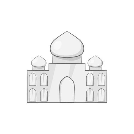 agra: Taj Mahal icon in black monochrome style isolated on white background. Landmark symbol vector illustration