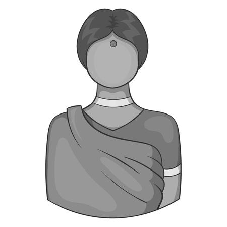 pakistani females: Indian female icon in black monochrome style isolated on white background. People symbol vector illustration