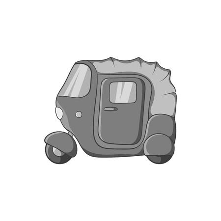 Tuk tuk taxi icon in black monochrome style isolated on white background. Transport symbol vector illustration