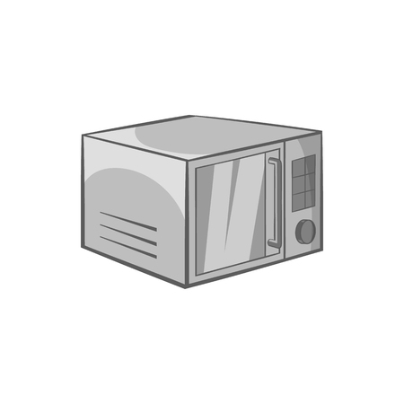 black appliances: Microwave icon in black monochrome style isolated on white background. Appliances symbol vector illustration