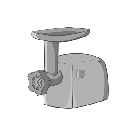 meat grinder: Electric grinder icon in black monochrome style isolated on white background. Appliances symbol vector illustration Illustration