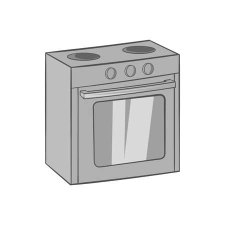 gas appliances: Gas stove icon in black monochrome style isolated on white background. Appliances symbol vector illustration Illustration