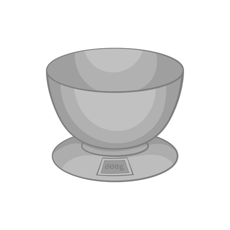 black appliances: Kitchen scales icon in black monochrome style isolated on white background. Appliances symbol vector illustration