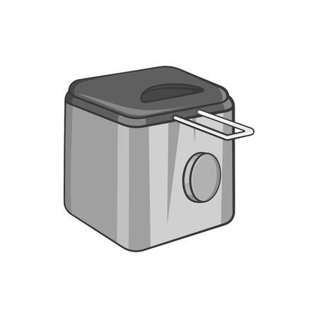 fryer: Fryer icon in black monochrome style isolated on white background. Appliances symbol vector illustration