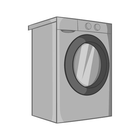 black appliances: Washer icon in black monochrome style isolated on white background. Appliances symbol vector illustration