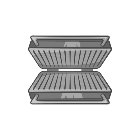 black appliances: Electric grill icon in black monochrome style isolated on white background. Appliances symbol vector illustration
