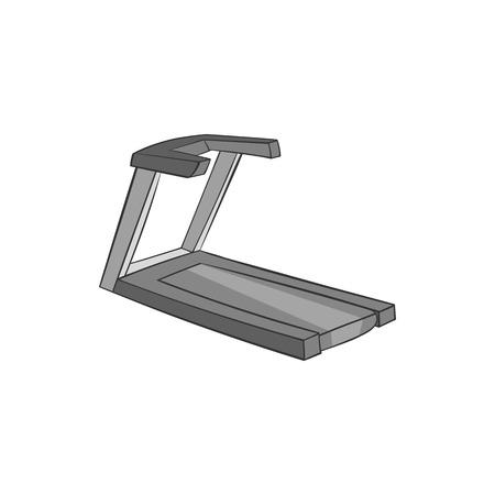 simulators: Treadmill icon in black monochrome style isolated on white background. Simulators symbol vector illustration