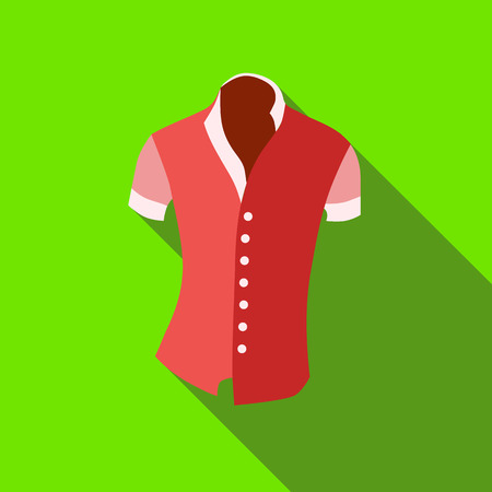 activewear: Woman blouse, short sleeve icon in flat style isolated with long shadow vector illustration Illustration