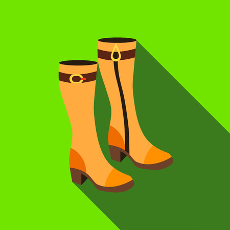 knee boots: Pair of women autumn boots icon in flat style isolated with long shadow vector illustration