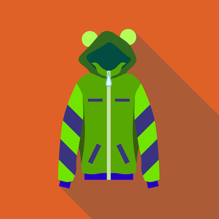 zipper hooded sweatshirt: Woman green hoodie icon in flat style isolated with long shadow vector illustration